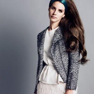 H&M X Lana Del Ray Metallic Boucle Moto Jacket
